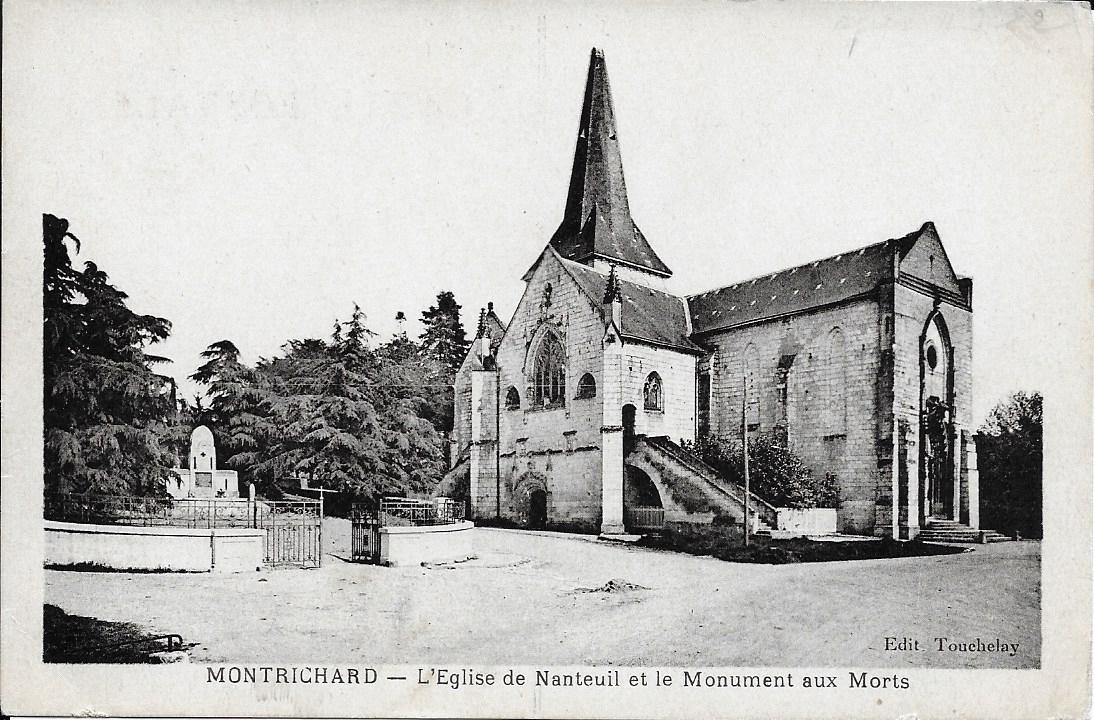Vieille carte postale de l'eglise de Nanteuil