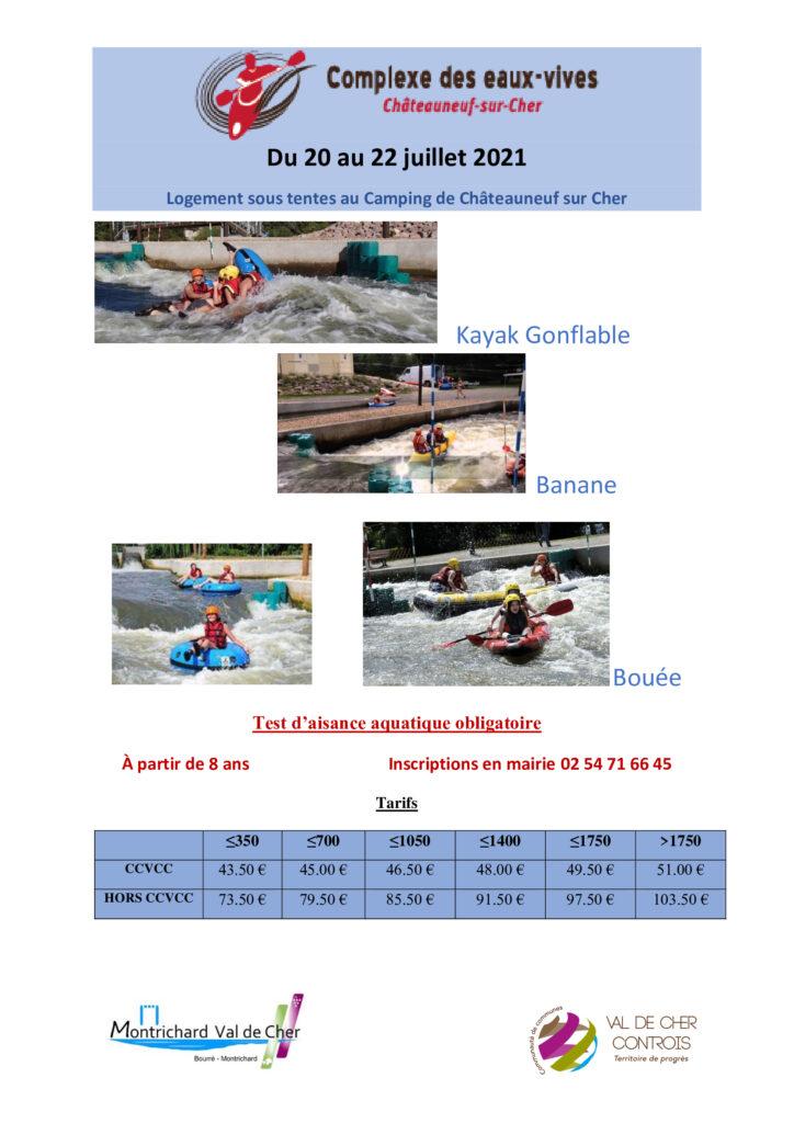 """Affiche pour le camp d'été """"complexe des eaux vives"""" à Châteauneuf"""