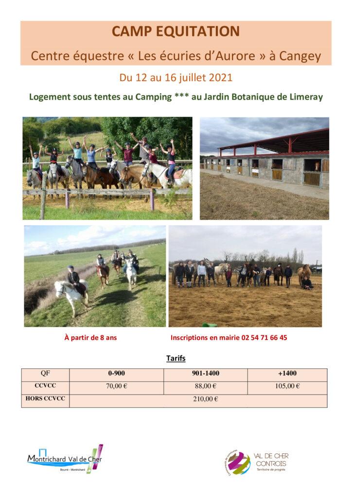 Affiche pour le camp d'été équitation à Cangey