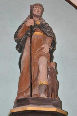 Statue de Saint Roch en pierre peinte du XVIIe siècle