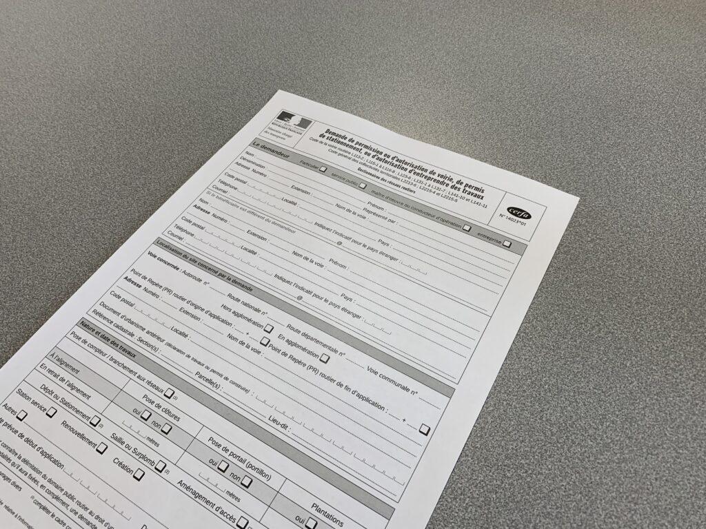 Demande de permission ou d'autorisation de voirie