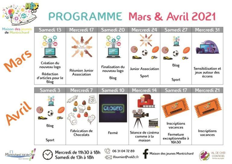 programme MDJ mars et avril 2021